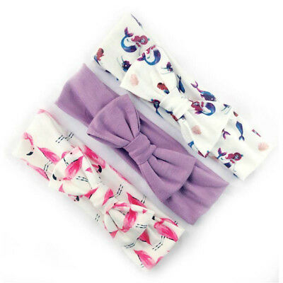 3Pcs Cotton Stretchy Knotted Ear Headbands Hair Band for Baby Girl Newborn New 6
