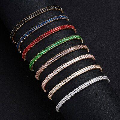 CZ Crystal Silver Rose Gold Slider Bracelet Adjustable Bangle Women Card Jewelry 3