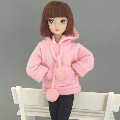 Pink Sweatshirt Doll Clothes Outfits Leather Pants Canvas Shoes For 1/6 Doll Toy 11