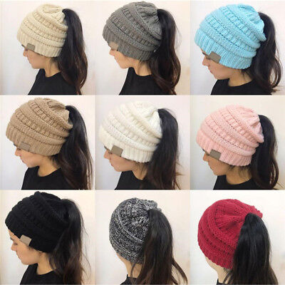 Winter Women Stretch Knit Hat With Tag Messy Bun Ponytail Holey Warm Hats Caps 3