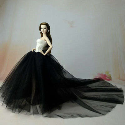 "Black Party Dress For 11.5"" Doll Clothes Long Tail Evening Gown Clothes & Veil 2"