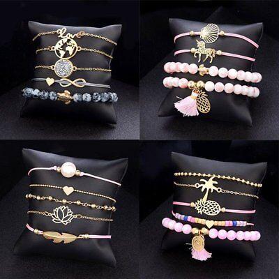 Fashion Women Boho Chain Bracelets Natural Stone Crystal Bangle Jewelry Set Gift 9