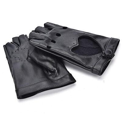 Women Punk Leather Driving Biker Fingerless Mittens Dance Motorcycle Gloves V_MR 11