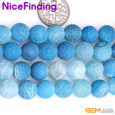 Wholesale Lot Blue Frost Matte Agate Stone Beads For Jewelry Making 6-14mm 15'' 3