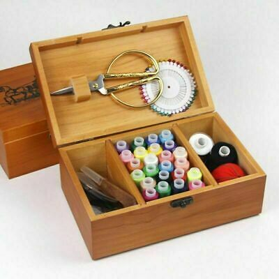 Wooden Sewing Storage Basket Box Gift Set Sewing Tool Kit Accessories Case AU 3
