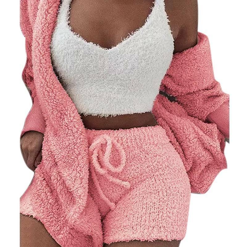 Women Fleece Sleepwear Hoodie Jacket + Crop Top + Shorts 3PCS Outfits Loungewear 11
