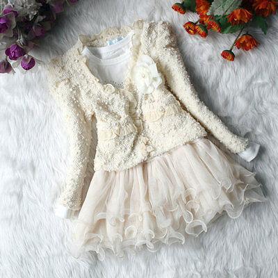 Ragazza Bambino Abbinamento Rosa Bianco giacca Gonna tutu festa di nozze Set 5