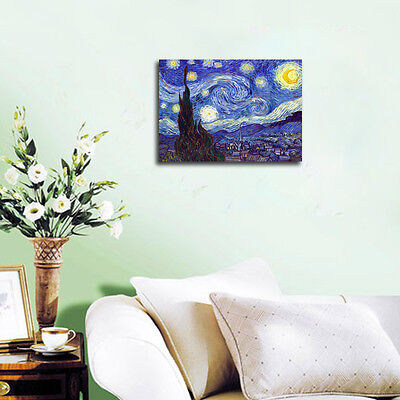 Starry Night by Van Gogh Fine Art Print Painting Reproduction on Canvas Framed 6