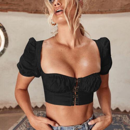 Ladies Sexy Low Cut Top Summer Fashion T-shirt Slim Short Sleeve T-shirts LG 12