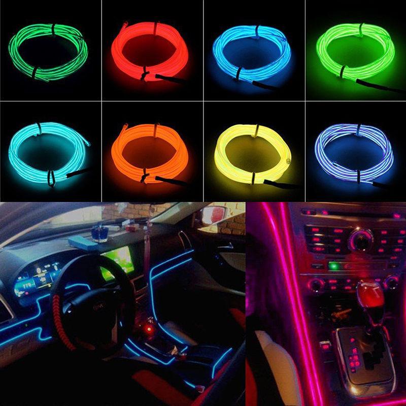 1 2 3 4 5m car interior atmosphere glow el wire led strip light rope 3v 12v usb. Black Bedroom Furniture Sets. Home Design Ideas