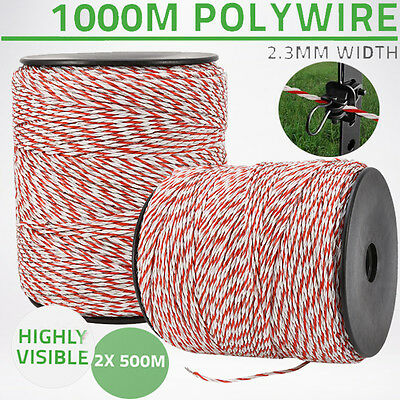 1000m Roll Polywire Electric Fence Fencing Stainless Steel Poly Wire Insulator 12