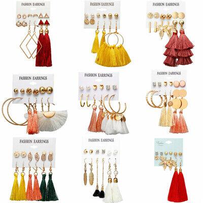 6Pairs Boho Tassel Crystal Pearl Earrings Set Women Ear Stud Dangle Jewelry Gift 2