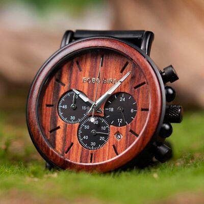 Luxury Design BOBO BIRD Japan Quartz Wrist Watch Men Women 44mm Gift Box Wood 3