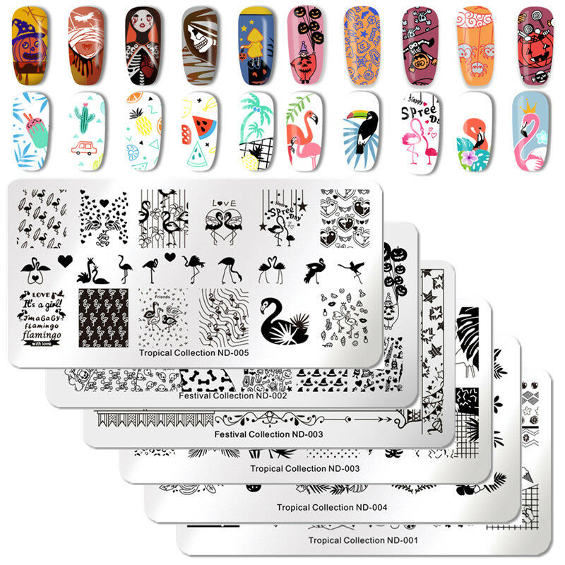 NICOLE DIARY Nail Art Stamping Plates Fantastic Tropical Geometry Image Plate 8