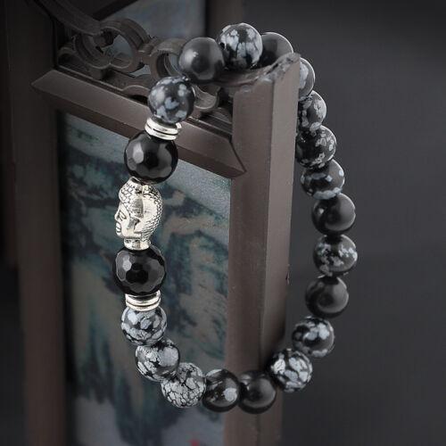 Men Women Natural Gemstone Beads Lava Rock Stone Bracelet Lion/Buddha Head Bead 7