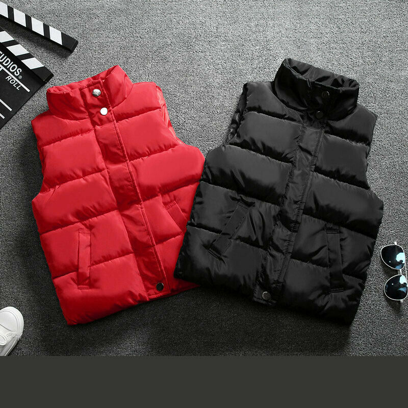 Kids Boys Girls Warm Cotton Down Vest Quilted Jacket Waistcoat Coats Snowsuits 5