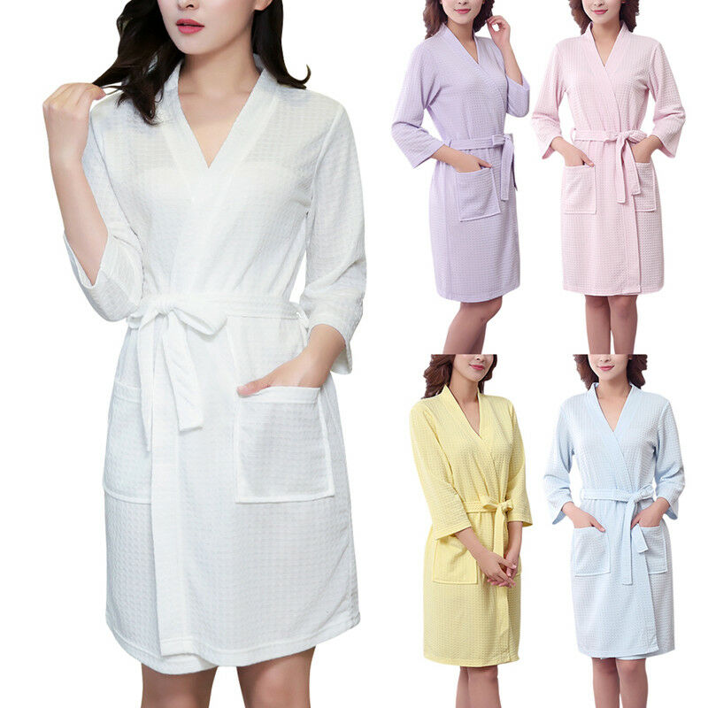 100% COTTON LADIES Lightweight Summer Waffle Bath Robe Dressing Gown ...