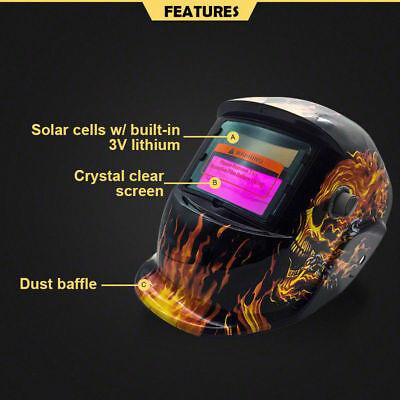 Pro Solar Auto Darkening Welding Helmet Arc Tig Skull Mask 3