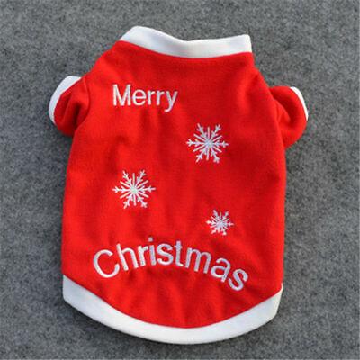 Cute Dog Puppy Christmas Santa Warm Costumes Coat Clothes Pet Apparel Shirt US 11