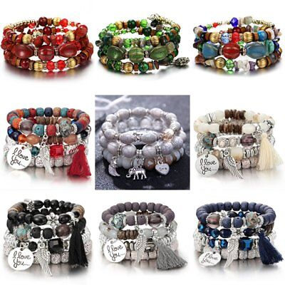 Women Boho Multi-layer Crystal Beaded Beads Bohemia Cuff Bracelets Set Bangle 3