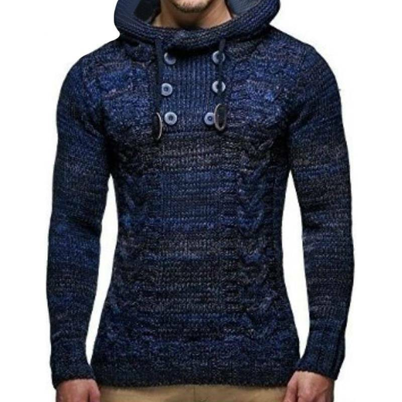 Mens Warm Knitted Hooded Long Sleeve Jumper Pullover Casual Sweater Winter Coat 8