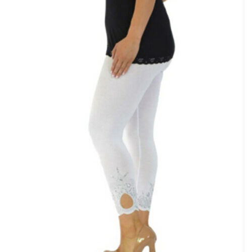 New Womens Plus Size Laser Cut Sequin Full Length Leggings With Hole 12-26