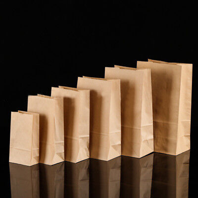 10/20/50x Quality Brown Kraft Strung Paper Bags Sandwich Fruit Grocery Food Bag 2