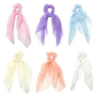 Double Layer Chiffon Bow Long Ribbon Scrunchie Hair Scarf Rubber Band Hair Tie @ 10