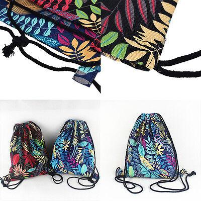Gym Drawstring Backpack Canvas Draw String Bucket Bag PE Travel Shoulder Bags NT 6