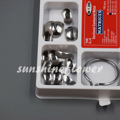 Dental Sectional Contoured Matrices 35um Hard- Full Matrix Kit 100pcs + 2 rings