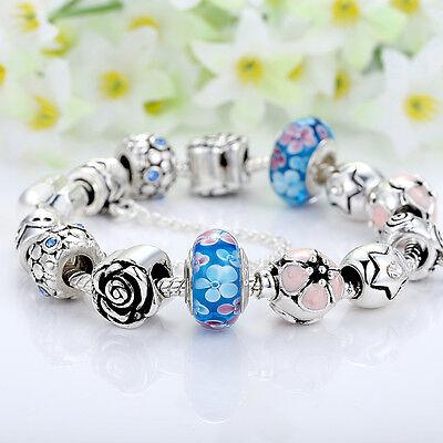 European 925 Silver Charms Bracelet DIY With Flower Bead Women Christmas Jewelry 4