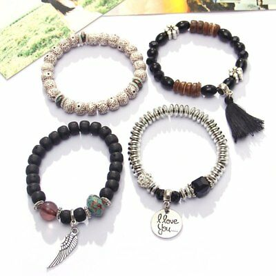 4Pcs I Love You Multilayer Natural Stone Crystal Bangle Beaded Bracelet Jewelry 3