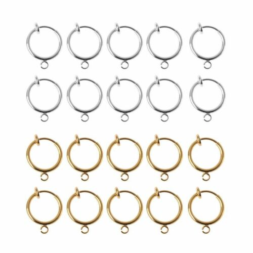 10Pcs DIY Clip On Earring Converters Non-pierced Ear Round Hoops Jewelry Finding 2