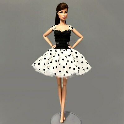 "Fashion Black White Tutu Dress For 1/6 Doll Clothes Party Gown For 11.5"" Doll 2"
