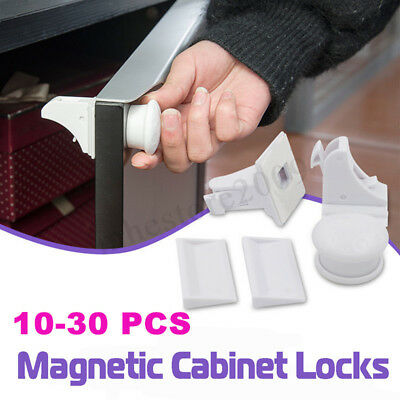 10-30 PCS Magnetic Cabinet Drawer Cupboard Locks Child Kids Baby Safety Proofing 2