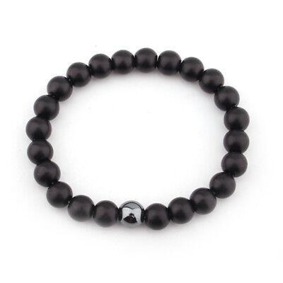 Mens Matte Black Onyx Yoga Energy Beaded Bracelet Boyfriend Gift for Him Jewelry 6