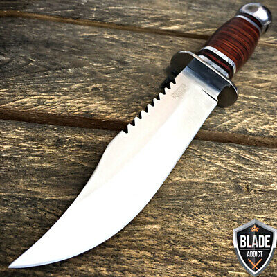 7PC SET Bone + Wood Hunting Knife w/ Sheath Tactical Survival Bowie Camping Lot! 7