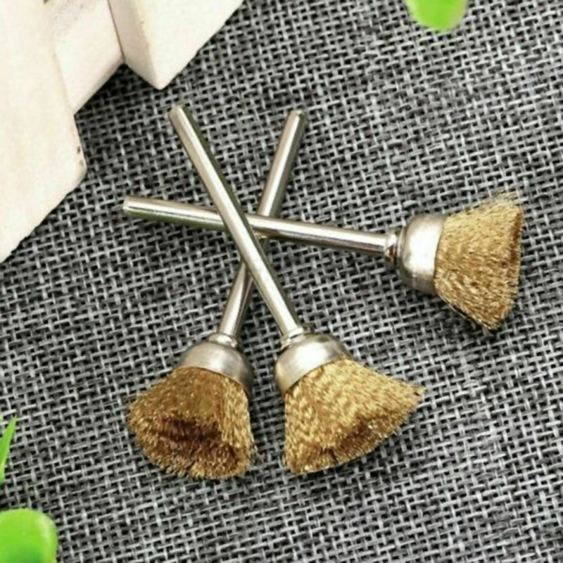 5 pcs/set 3mm Rotary Tool Steel Wire Cup Brushes 3mm Shank Cleaning-Finish 2