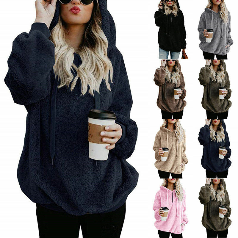 Womens Warm Fleece Hooded Sweatshrit Hoodies Winter Jumper Tops Coat Plus Size 2