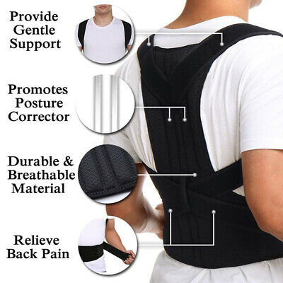 Posture Corrector Brace Women Men Full Back Support Clavicle Shoulder Belt Body 3