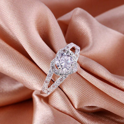 Cheap Fashion Silver Plated Women Crystal Wedding Bridal Lady heart Ring 6