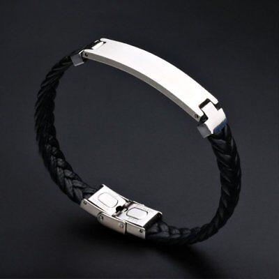 Personalised Mens Leather Bracelet Engraved Birthday Wedding Dad Boyfriend Gifts 12