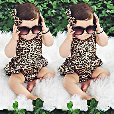 Newborn Leopard Print Romper Infant Baby Girls backless Floral Romper Dress BS 2