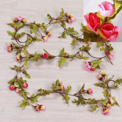 Cute 7Ft Artificial Fake Silk Rose Flower Hanging Garland Garden Wedding Decor 10