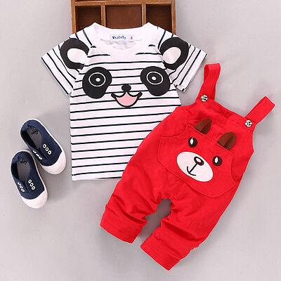 2pcs bébé garçons filles T-shirt haut + ensembles pantalon tenues vêtements 0 ~