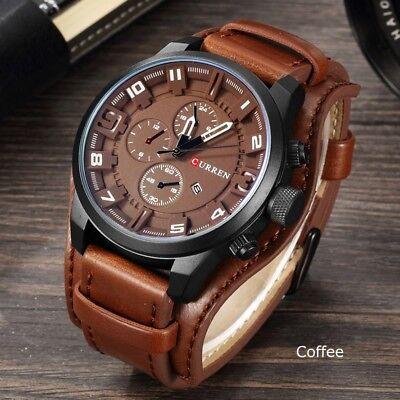 Fashion Curren Mens Date Stainless Steel Leather Analog Quartz Sport Wrist Watch 2