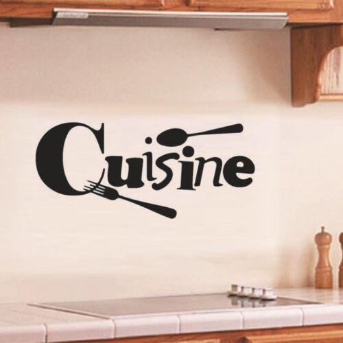 Set Autocollants Sticker Mural Lettre Cuisine Française PVC Décoration Maison NF