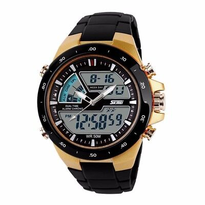 Men's Sport Military Digital Big Dial Date Chronograph Analog Resin Wrist Watch