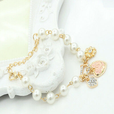 Fashion Gold Plated Women's Jewelry Crystal Heart Bangle Pearl Bracelet Hot 2