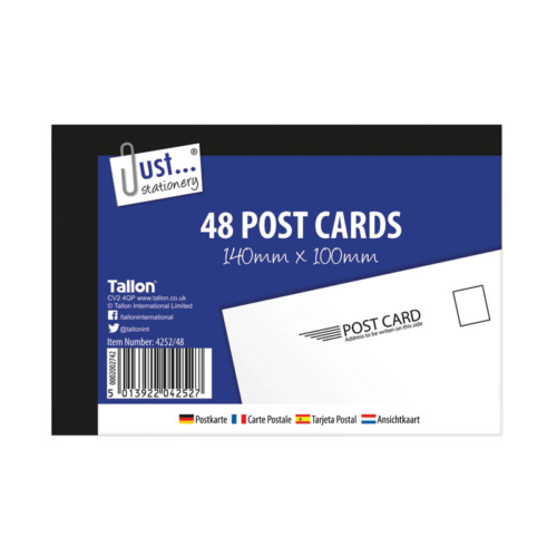 Tallon 48 Plain White Blank Post Cards Pad Mail Mailing Holiday Competition